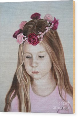 Wood Print featuring the painting Portrait Of Kristinka by Jindra Noewi