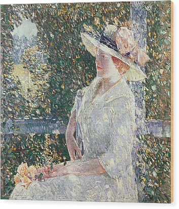 Portrait Of Miss Weir Wood Print by Childe Hassam