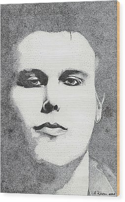 Portrait Of Ville Valo Wood Print by Alice Rotaru