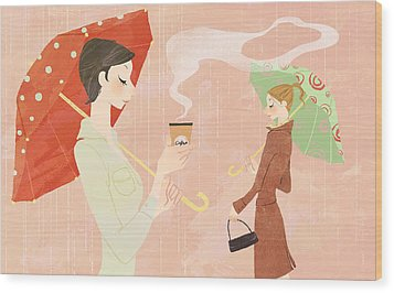Portrait Of Young Woman In The Rain Holding Umbrella And A Takeaway Coffee Wood Print by Eastnine Inc.