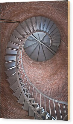 Portsmouth Harbor Lighthouse Stairwell Wood Print by Robert Clifford