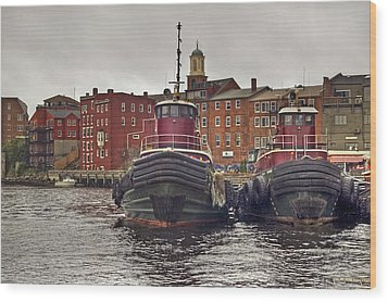 Portsmouth Tugs Wood Print by Joann Vitali