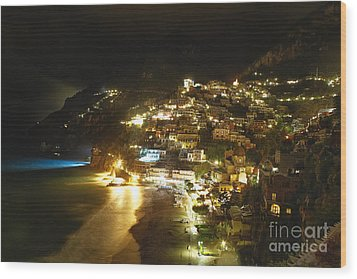 Positano Nightscape Wood Print by George Oze