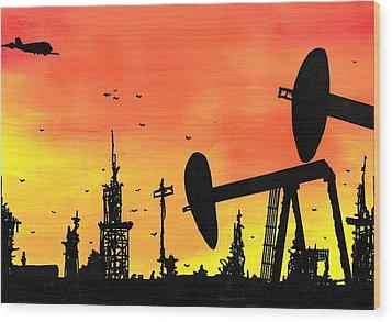 Post Apocalyptic Oil Skyline Wood Print by Jera Sky