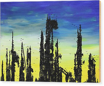 Post Apocalyptic Skyline 2 Wood Print by Jera Sky