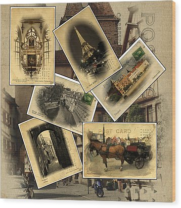Postcards From Europe Wood Print by Cecil Fuselier