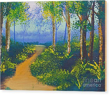Poster Color Drawing Walk Way In Forest Wood Print by Mongkol Chakritthakool