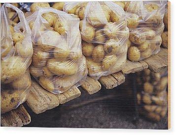 Potatoes Wood Print by Veronique Leplat