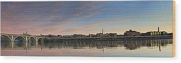Potomac River Panorama - Washington Dc Wood Print by Brendan Reals
