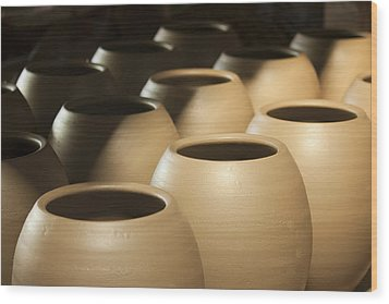 Pottery In Thailand Wood Print by Chatchawin Jampapha