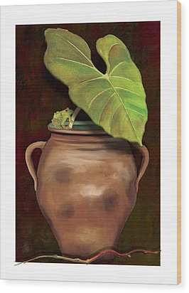 Wood Print featuring the painting Pottery Jar by Anne Beverley-Stamps