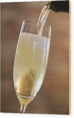 Pouring Champagne Wood Print by Datacraft Co Ltd
