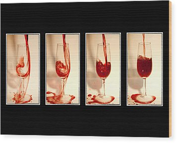 Pouring Red Wine Wood Print by Svetlana Sewell