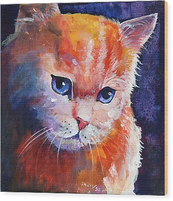 Pouting Kitty Wood Print by Sherry Shipley