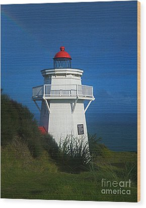 Wood Print featuring the photograph Pouto Lighthouse With Rainbow New Zealand by Mark Dodd