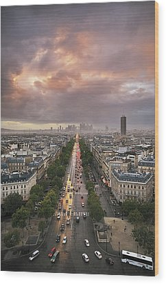 Pov From Arch Of Triumph Wood Print by © Yannick Lefevre - Photography
