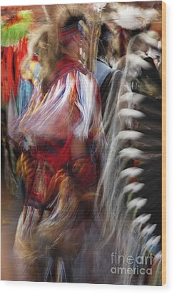 Pow Wow Dancer Wood Print by Vivian Christopher