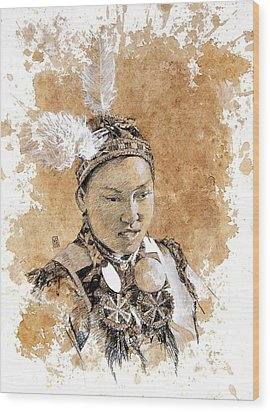 Pow Wow Girl Wood Print by Debra Jones
