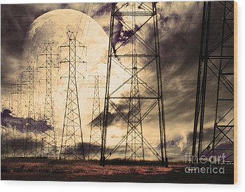 Power Grid Wood Print by Wingsdomain Art and Photography