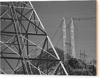 Power Lines Wood Print by Hideaki Sakurai