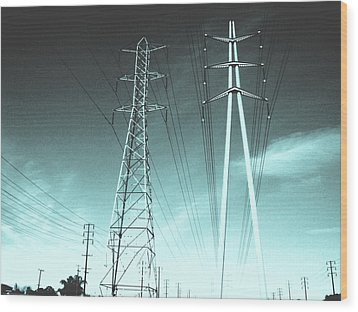 Power Lines Wood Print by Jay Reed