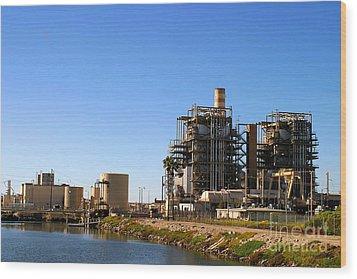 Power Plant Wood Print by Henrik Lehnerer