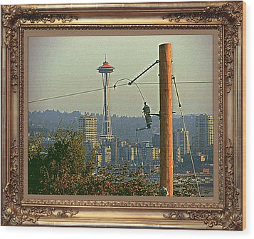 power Poles as Art - 6 Wood Print by Larry Mulvehill
