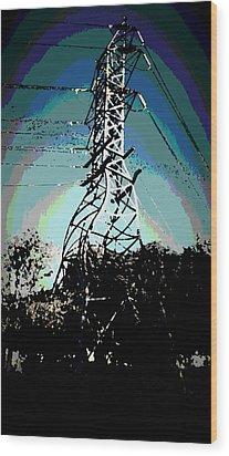 Power Tower Melting Wood Print by David Alvarez