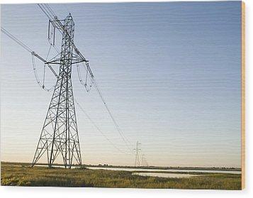 Powerlines Jepson Prairie Preserve Wood Print by Sebastian Kennerknecht