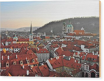 Prague - A Story Told By Rooftops Wood Print by Christine Till