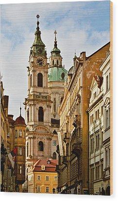 Prague - St. Nicholas Church Lesser Town Wood Print by Christine Till