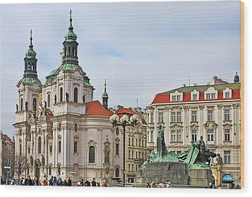 Prague - St Nicholas Church Old Town Square Wood Print by Christine Till
