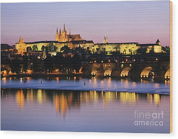 Prague Castle On The Riverbank Wood Print by Jeremy Woodhouse