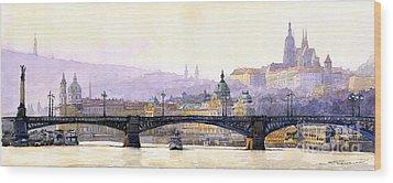 Prague Panorama Cechuv Bridge Variant Wood Print by Yuriy  Shevchuk