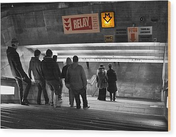 Prague Underground Station Stairs Wood Print by Stelios Kleanthous