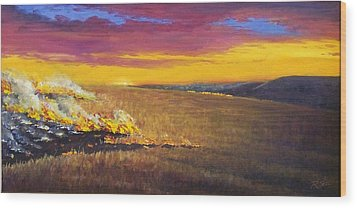 Wood Print featuring the painting Prairie Fire by Rod Seel
