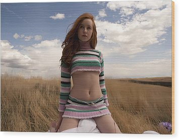 Prairie Sky Wood Print by Waywardimages Waywardimages