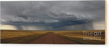 Prairie Storm In Canada Wood Print by Vivian Christopher