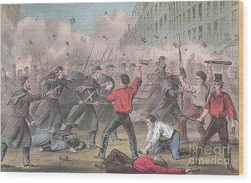 Pratt Street Riot, 1861 Wood Print by Photo Researchers