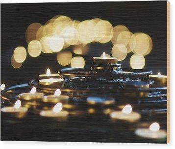 Prayer Candles Wood Print by Beth Riser