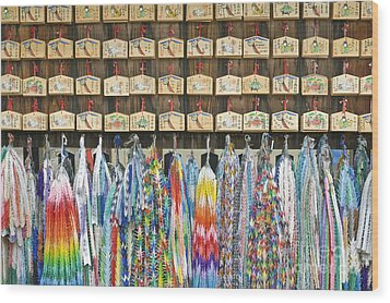 Prayer Plaques & Origami Cranes Wood Print by Rob Tilley