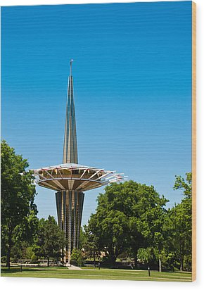 Prayer Tower Portrait Wood Print by David Waldo