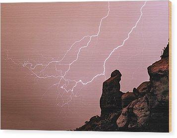 Praying Monk Camelback Mountain Lightning Monsoon Storm Image Wood Print by James BO  Insogna