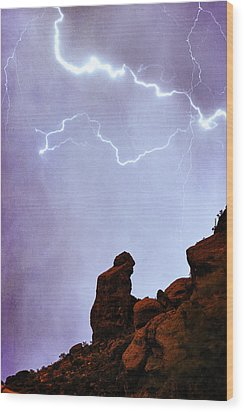 Praying Monk Camelback Mountain Paradise Valley Lightning  Storm Wood Print by James BO  Insogna
