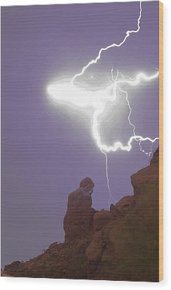 Praying Monk Lightning Halo Monsoon Thunderstorm Photography Wood Print by James BO  Insogna