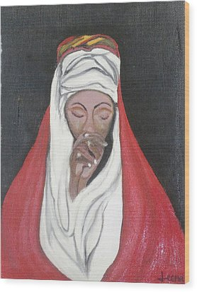 Praying Woman-oil Painting Wood Print by Rejeena Niaz