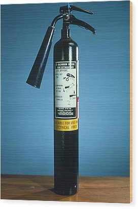 Pre-1997 Uk Co2 Fire Extinguisher Wood Print by Andrew Lambert Photography