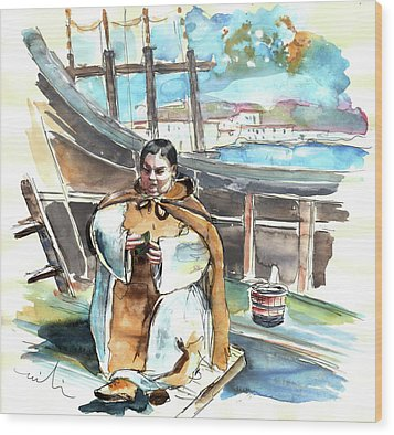Preaching The Bible On The Conquistadores Boat In Vila Do Conde In Portugal Wood Print by Miki De Goodaboom
