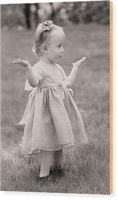 Precious Vintage Girl In Dress Wood Print by Tracie Kaska