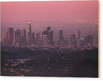 Predawn Light On Downtown Los Angeles. Wood Print by Eric A Norris